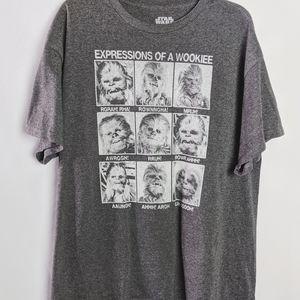 Star Wars Shirts - Star Wars Expressions of a Wookie Gray T Shirt XL
